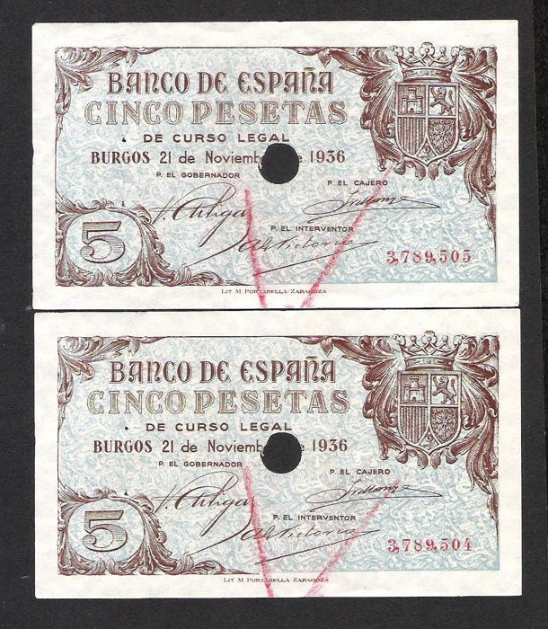 Spain - 2 x 5 pesetas 1936 - Pick 97a cancelled - consecutive numbers -  Catawiki