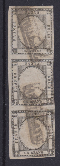 "Italië - Neapolitan provinces, 1 grano dark grey, strip of 3, ""CANCELLED"" in folder of the first months of - Sassone 19a (striscia)"