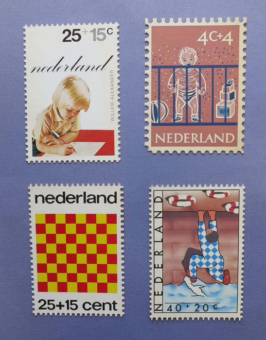 Holanda 1959/1977 - Four children's Thank You cards, amongst others, 3 x FD card with signature