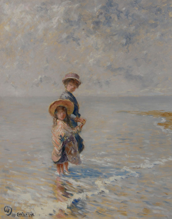 "Chris van Dijk (1952) - "" Mother and daughter together on the beach "" / Calm sea."
