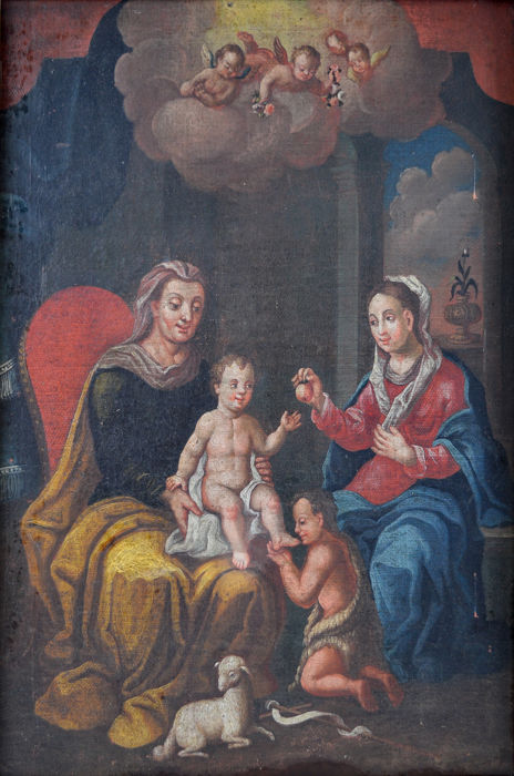 Probably Italian school (18th century) - The Madonna and Christ with St John The Baptist.