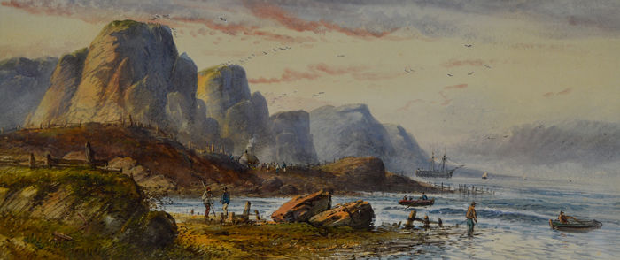 English school - A coastal scene with figures in foreground