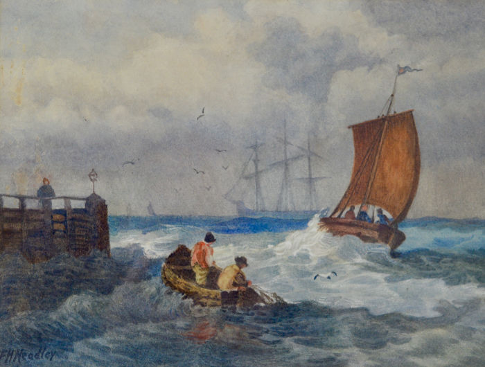 F. H. Headley (20th century) - Shipping scene with figures in a small boat fishing