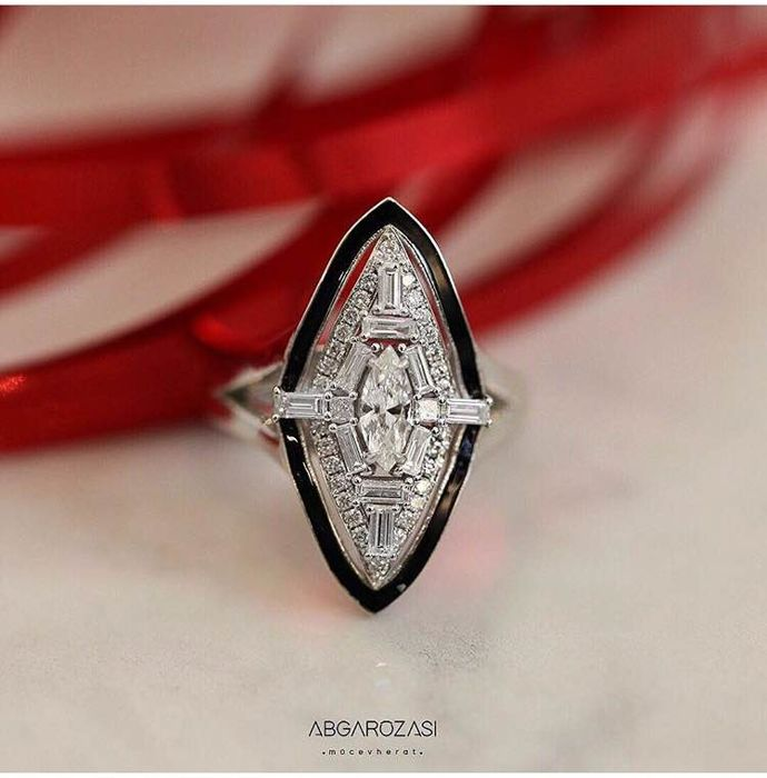 Abgar Ozasi - 14 karaat Witgoud - Ring - 0.41 ct Diamant - Diamanten