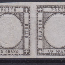 Neapolitan provinces 1861 - 1 grano pair with a piece without effigy - Sassone N. 19g