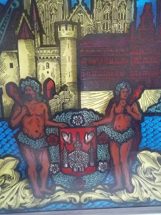 Beautiful stained glass window from the city of Antwerp - Stained glass