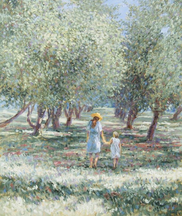 """Chris van Dijk (1952) - """" Mother and child  walking under the trees on a sunny day """""""
