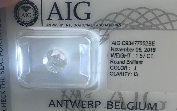 1 pcs Diamante - 1.57 ct - Brillante - J - I3