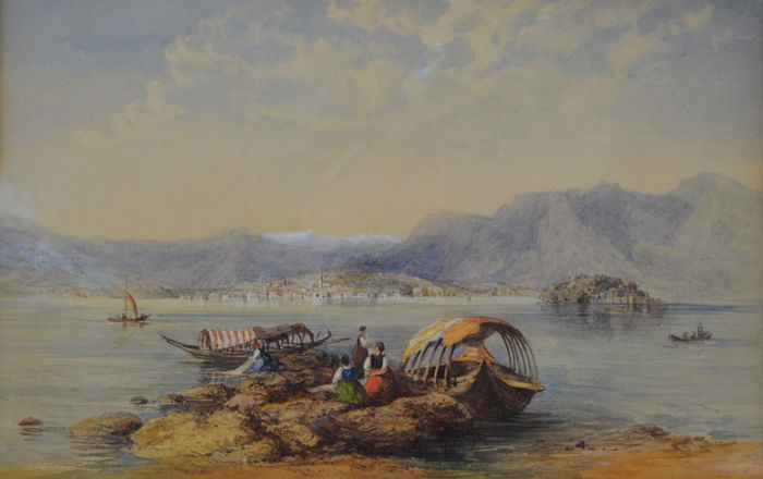 Continental school (19th century) - Figures by boats on a lake shore
