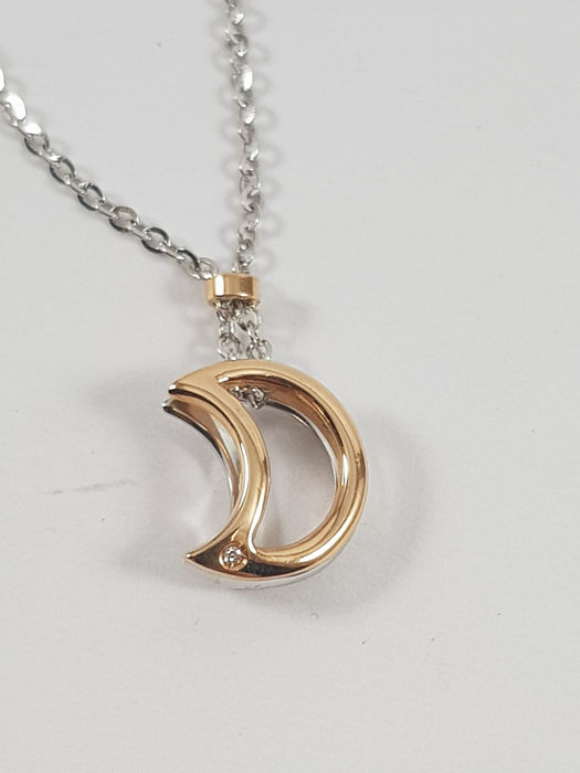 Comete - 18 kt. Pink gold, White gold - Necklace with pendant - 0.01 ct Diamond - Sapphire