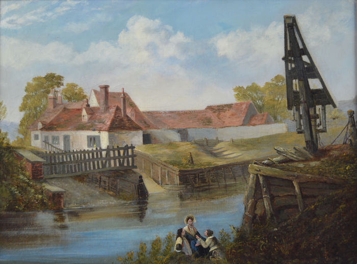 English school  - A river landscape with figures in the foreground