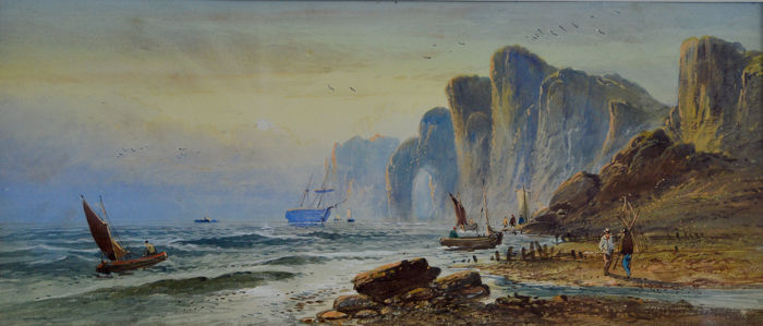 English school  - A romantic coastal scene with figures and boats