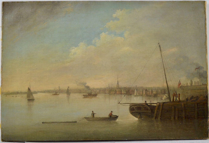 After Francis Swaine (c.1720-1782) - Figures on a rowing boat with harbour town in the distance.