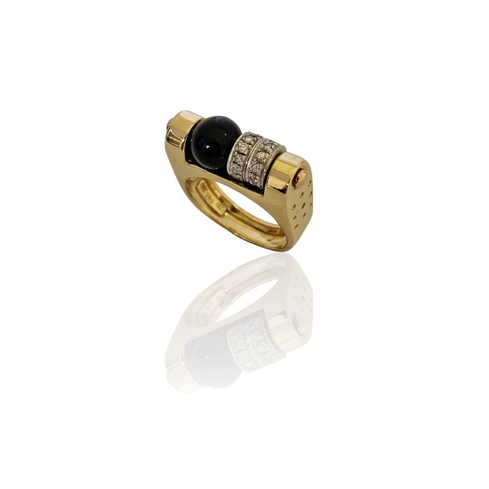 Nouvelle Bague - 18 kt. Gold - Ring - 0.30 ct Diamond - Lapis lazuli