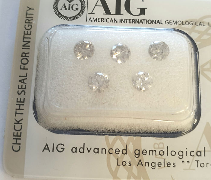 5 pcs Diamante - 1.22 ct - Brillante, Redondo - SI1