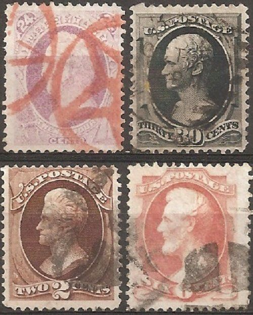 Verenigde Staten 1870/1873 - U.S.A. Lot 14, 4 used stamps - Unificato 51 (signed Diena), 52, 55, 57