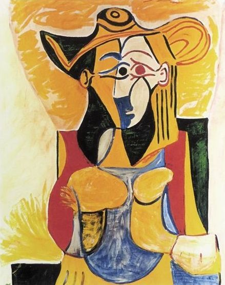 Pablo Picasso ( after ) - Seated Woman with Yellow and Green Hat