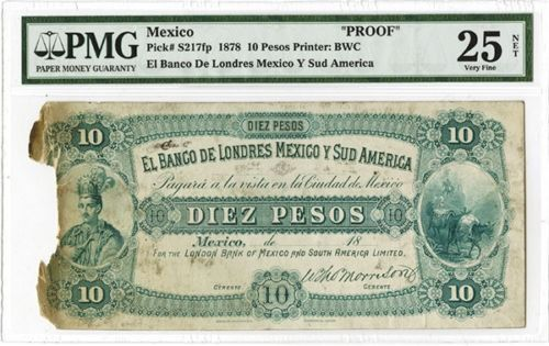 Mexique - Banco de Londres Mexico y Sud America - 18xx (1878), 10 Pesos, P-S217fp, Unlisted Proof