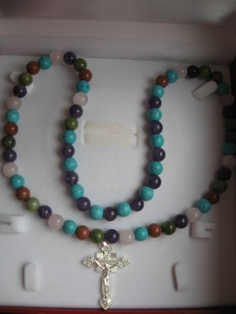 Necklace with cross - Turquoise, Quartz, Amethyst, Goldstone, Nephrite