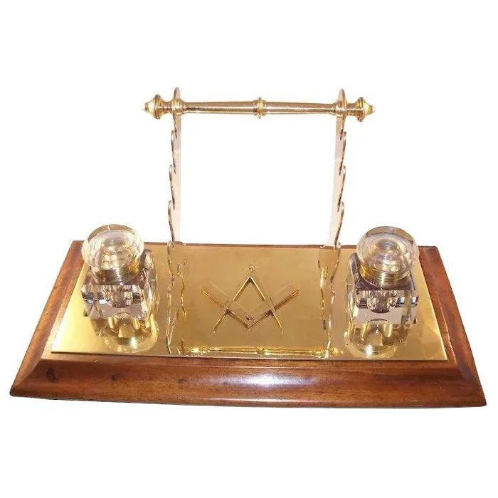 Handsome Vintage Double Brass Inkwell with Multiple Pen Rests - Masonic - Brass, Wood