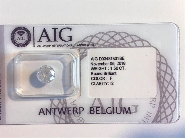Diamante - 1.50 ct - Brillante, Redondo - F - I2