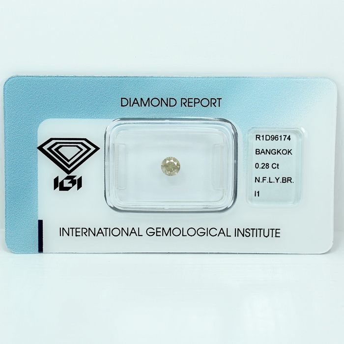 Diamant - 0.28 ct - Brilliant - Natural Fancy Light Yellowish Brown - I1 - NO RESERVE PRICE - VG/VG/VG