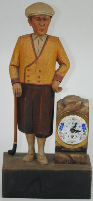 """Carved & Painted Automaton """"Whistling Golfer"""" Mantel Clock - Wood - Early 20th century"""