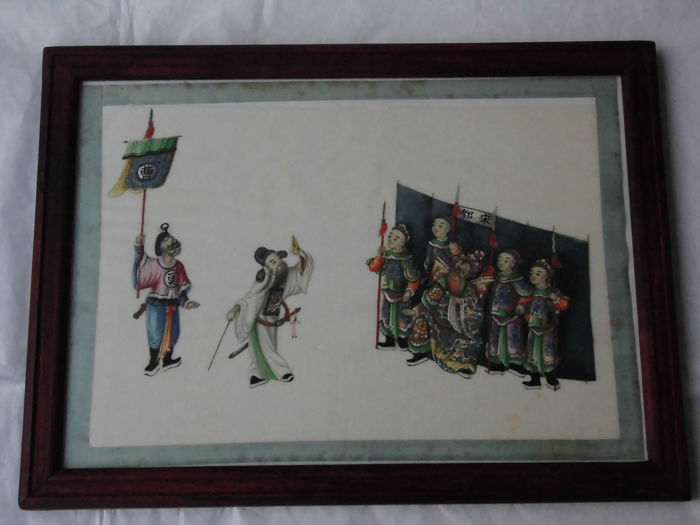 miniature painting (1) - Pith paper - Ancestry court - China - 19th century