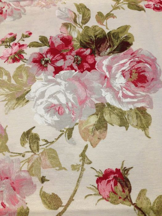 Sanderson décor with roses of fuchsia and pink gradations - Romantic - cotton blend - Second half 20th century