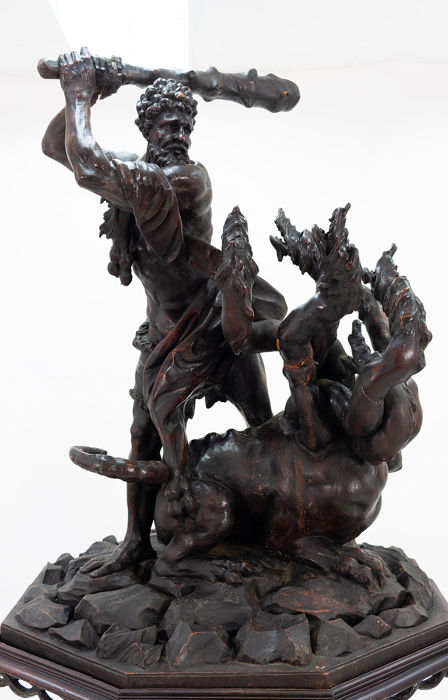 Sculpture, depicting the second labor of Heracles, slaying the Hydra of Lerna - on guéridon - Wood - Second half 19th century