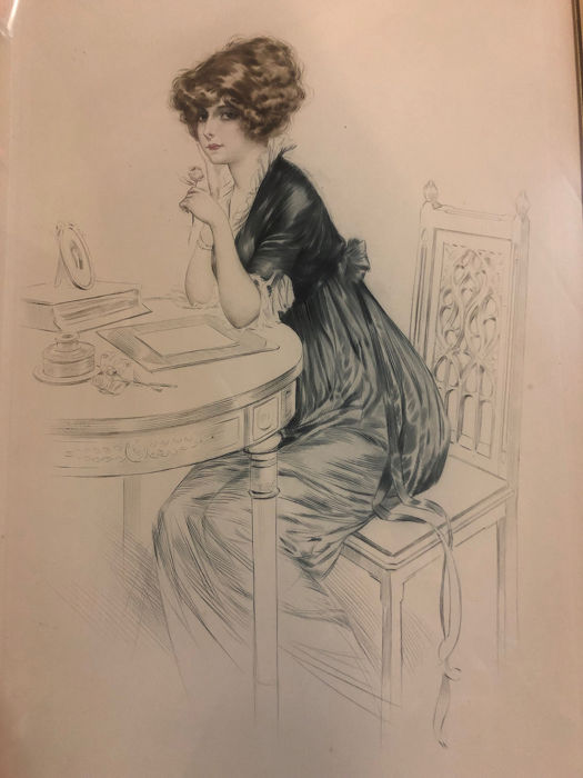 Maurice Milliere (1871-1946)  - Une parisienne a table