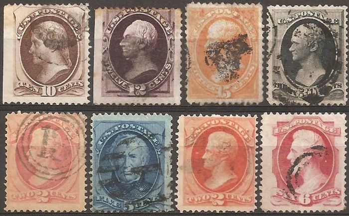 Verenigde Staten 1873/1879 - U.S.A. Lot 16, 8 used stamps - Unificato 59, 60, 61, 62, 64, 65, 67, 70