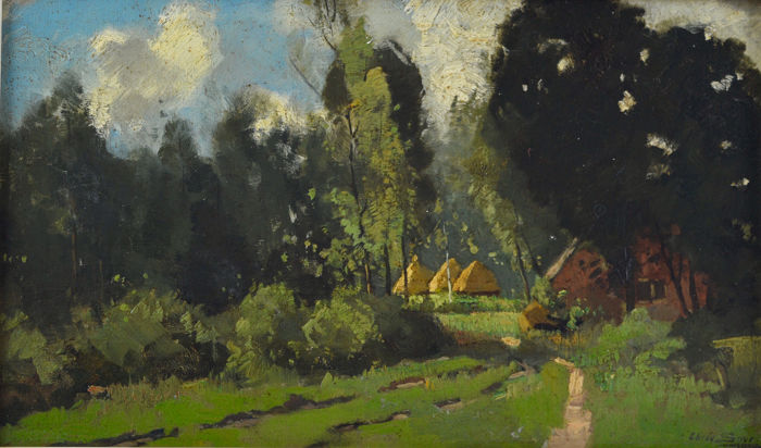 Chris Sirer  - Huts and and a dwelling in a wooded landscape
