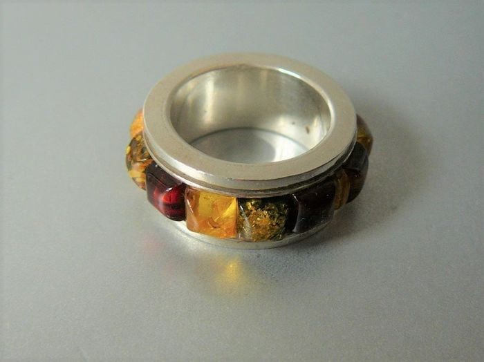 925 Silver - Ring Amber