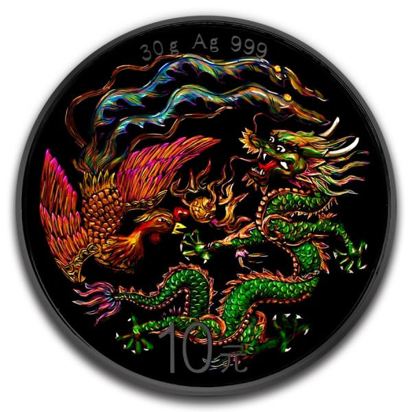 China - 10 Yuan 2018 Drache Dragon & Phoenix Ruthenium Farbe mit Box & Zertifikat - Zilver
