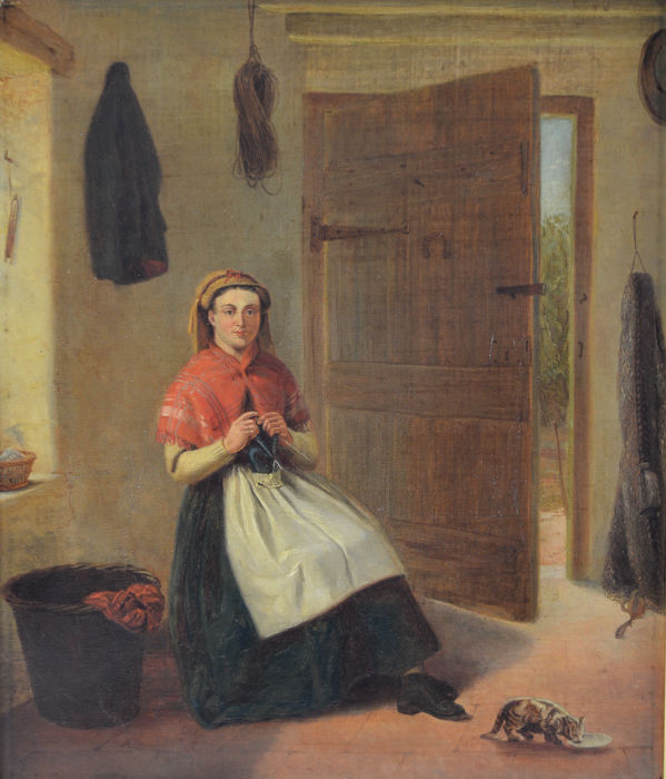 C. Riley (19th Century) - A fisherman's wife knitting with her cat