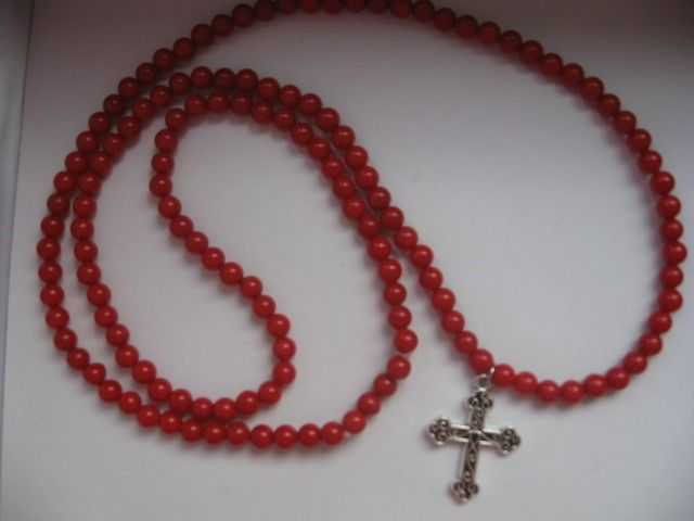 Necklace with cross - Mediterranean coral