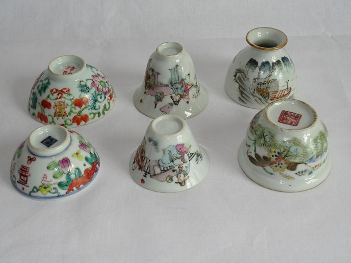 Bol (6) - Porcelaine - a lot of different small items - Chine - XIXe siècle