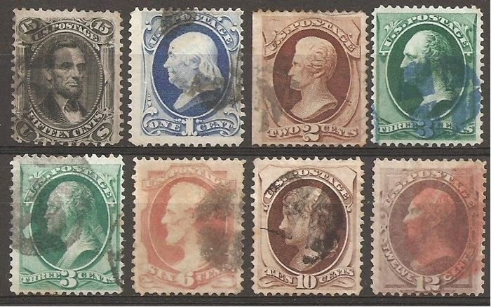 Verenigde Staten 1867/1871 - U.S.A. Lot 06, 8 stamps with and without grill - Unificato 31A, 43, 44, 45, 46, 48 ,45A, 49