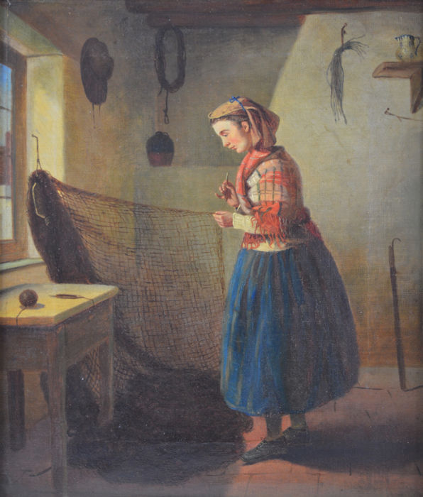 C. Riley (19th Century) - A fisherman's wife mending nets