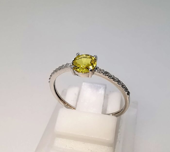 18 quilates Oro blanco - Anillo - 0.61 ct Zafiro - Diamante