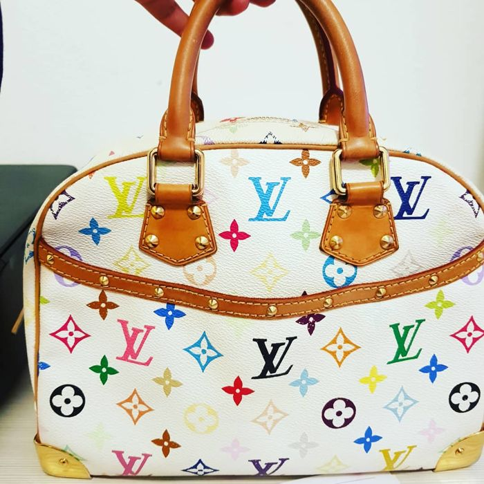 Louis Vuitton - White Monogram Multicolor Trouville  Handtas