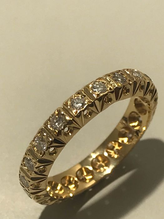 18 carats Or jaune - Bague Diamant - Diamants