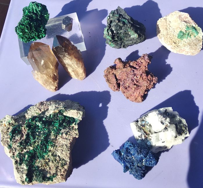 Very complete collection Minerals of the DR CONGO Mineral Collection - 635 g - (10)