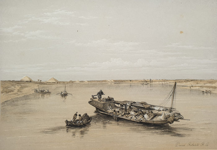 5 prints - David Roberts (1796-1864) - View Looking towards the Pyramids of Dashour.. Slave Boat on the Nile