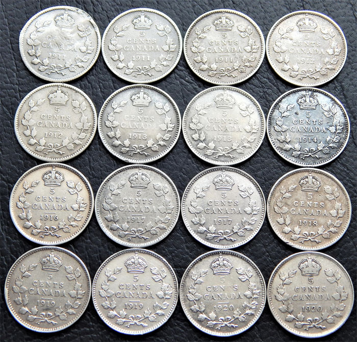 Kanada - 5 Cents 1911 to 1920 George V (16 pieces)  - Silber