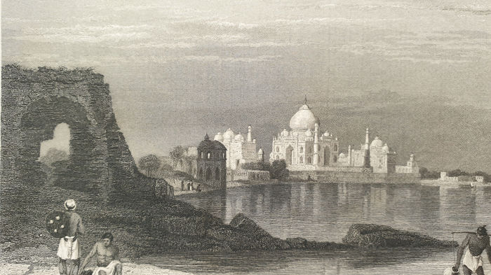5 prints - R.Walis, R.Sands, E.Challis, W.Floyd & W.Brandard (19th century) - Taj Mahal, The Water Palace, Excavated Temple & other