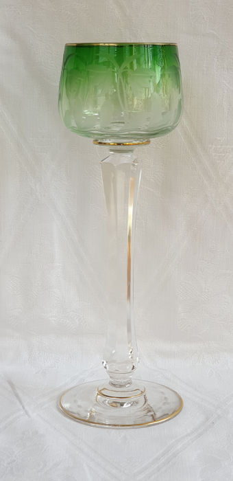 Moser Karlsbad - Art Nouveau wine glass with an etched representation of flowers and leaves on one