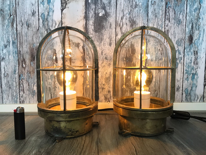 large ship's engine room lights, Passageway light (2) - Brass - First half 20th century