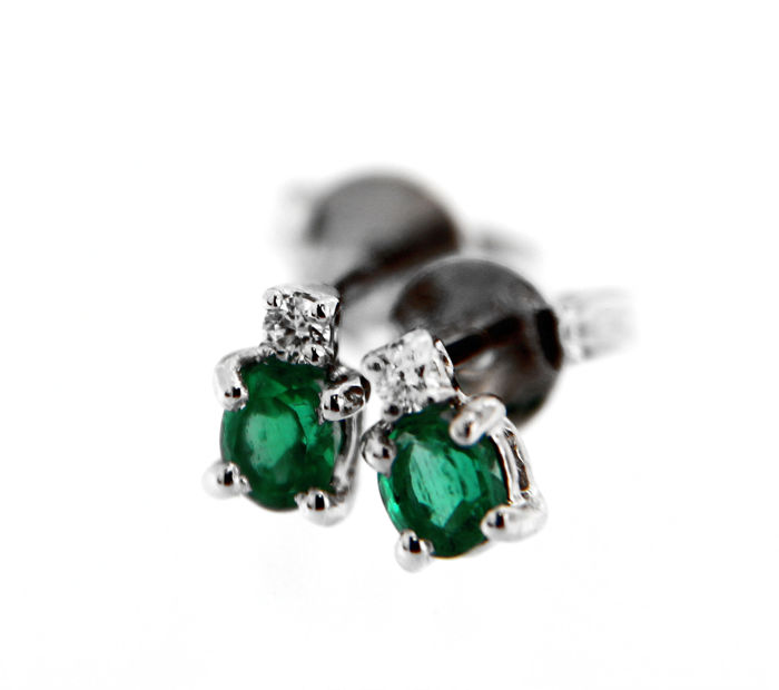 ITITOLI - 18 kt. White gold - Earrings - 0.49 ct Emerald - Diamond